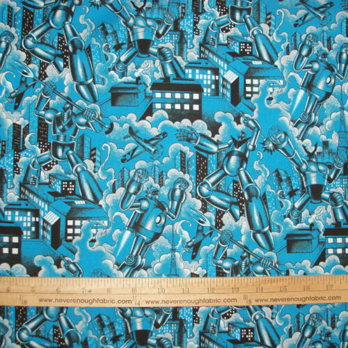 Cotton Fabric Alexander Henry TOKYO BOT Fighting Robot Asian on BLUE   BTY