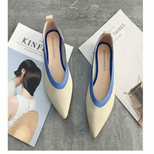 2019 Pointed Toe flats Ladies flat Shoes Ballet  Breathable Knit Mocasines