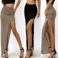 Sexy Womens High Waist Long Maxi Dress Side Open Slit Slim Tight ...