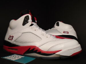 low priced cfd38 78ba8 Image is loading Nike-Air-Jordan-V-5-Retro-WHITE-FIRE-