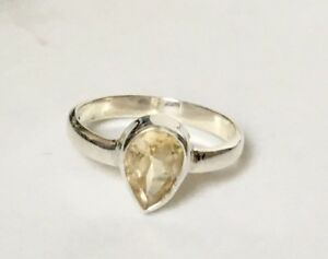925-Sterling-Silver-Citrine-Ring-Teardrop-Pear-Faceted-Gemstone-Stack-Sz-6-7-8-9