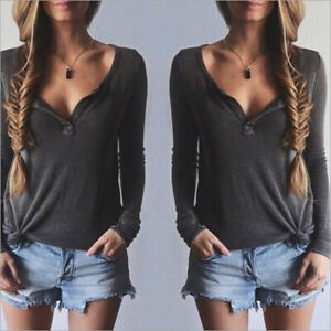 Women-Fashion-Long-Sleeve-Knit-V-Neck-T-Shirt-Loose-Casual-Blouse-Tops-Hot