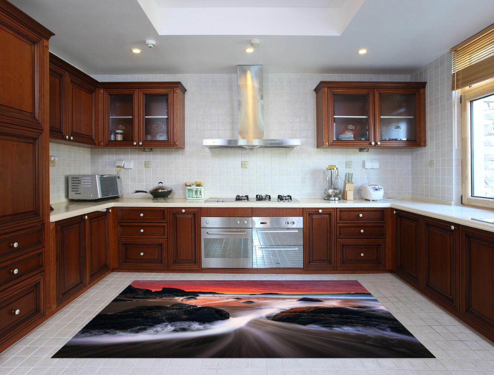 3D Beach Rosy Sky Kitchen Mat Floor Murals Wall Print Wall Deco AJ WALLPAPER CA