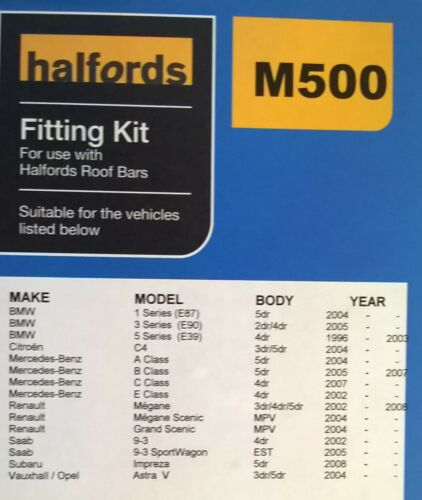 Halfords Roof Bar Fitting Kit M500 for Roofbars B For BMW Citroen Mercedes GM