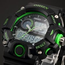 OHSEN Mens Green Digital Date Rubber LCD Date Quartz Sport Wrist Watch +Bookmark