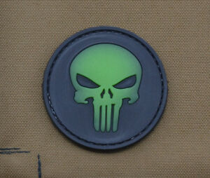PVC-Rubber-Glow-in-the-Dark-Patch-034-Round-Punisher-034-with-VELCRO-brand-hook