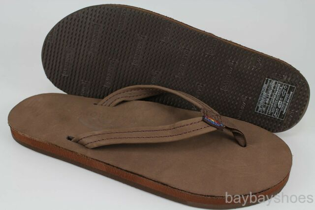 RAINBOW SANDALS PREMIER LEATHER SINGLE LAYER NARROW STRAP EXPRESSO BROWN WOMENS