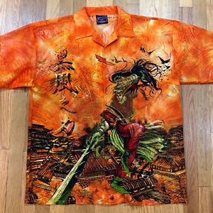 Vintage 1990s Claudio Nucci Anime Manga Button Front Shirt Gray /& Orange Short Sleeve Polyester