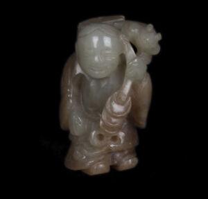 China-19-20-Siglo-Figura-a-Chino-Jade-Figura-de-Liu-Haichan-Chinois-Cinese