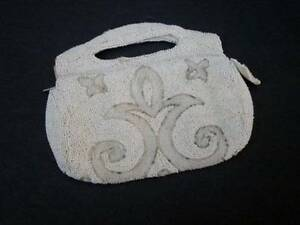 VTG-Beaded-Purse-White-Clear-Beads-Small-6-5X5-5-Belgium