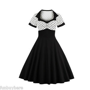 50-039-S-60-039-S-ROCKABILLY-Swing-Vintage-Polka-Dot-Flare-Pinup-Housewife-Party-Dress