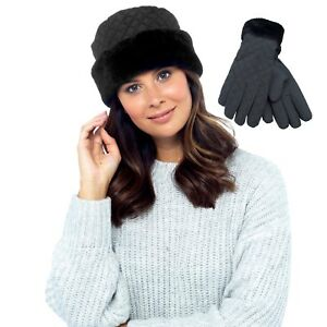 Ladies Luxury Winter Beanie Quilted Hat and gloves set with Fur Trim