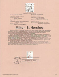 #9536 Milton S. Hershey Stamp #2933 USPS Souvenir Page