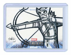 2012 Upper Deck Avengers Assemble Hawkeye Sketch Card by Wendy Chew
