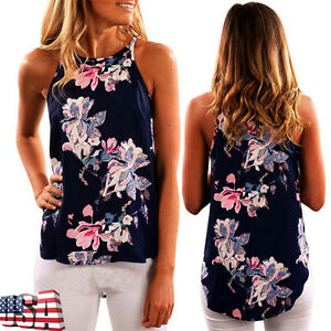 Floral-Women-Halter-Off-Shoulder-Tank-Top-Casual-Blouse-Vest-O-Neck-T-Shirt-Tops