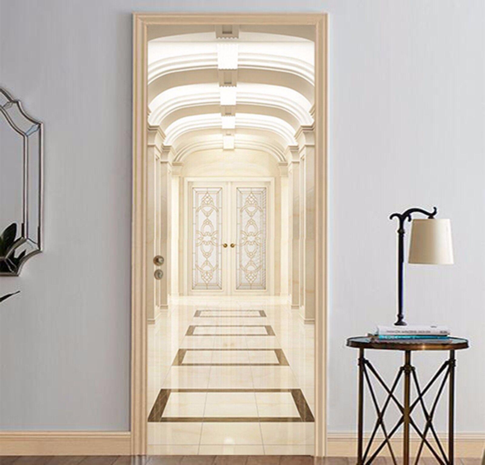 3D Weiß Gebäude 62 Tür Mauer Wandgemälde Foto Wandaufkleber AJ WALL DE Lemon