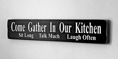 Wooden GATHER IN OUR KITCHEN free standing sign shabby vintage chic plaque large
