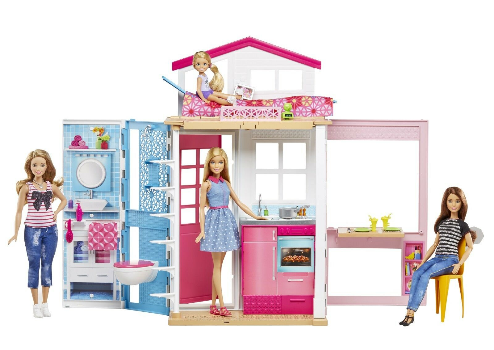 MATTEL BARBIE CUCINA 2 piani casa con Barbie dvv48 NUOVO OVP