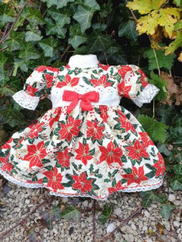 Dream Baby Ragazze Natale ponsietta tradizionale Foderato Abito o si adatta a bambole reborn
