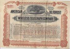 AMERICAN DE FOREST WIRELESS COMPANY......1904 STOCK CERTIFICATE