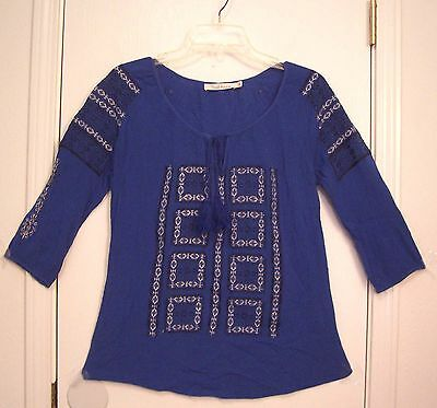 EMBROIDERED Blue Rayon GAUZE with TASSEL TIE Hippie boho Top Blouse shirt/S-M