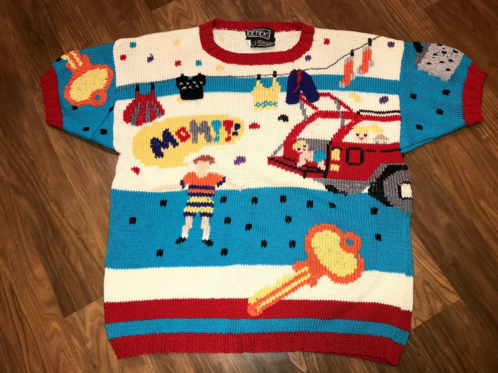 Berek MOM Sweater LARGE Car Key Iron Collectible ugly Vtg 80s 90s S S Top Shirt