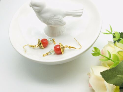 Candy Earring Red Glass Face Crystal Green Festive Gold Plated Hook Party Luxury