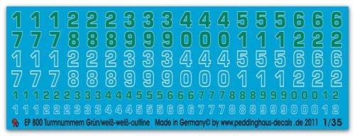 1//35 Decals Deutsche Turmnummern grau-outline-grün-weis 800