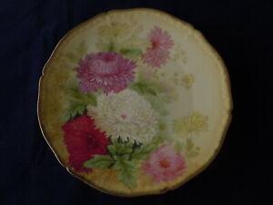 Details about Vintage HP Louis Gray Porcelain Plate Tirschenreuth Bavaria  Chrysanthemums