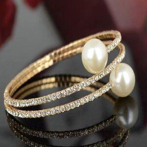 Hochzeit-Armband-Braut-Strass-Perlen-Armschmuck-weiss-glod-farbig-dehnbar