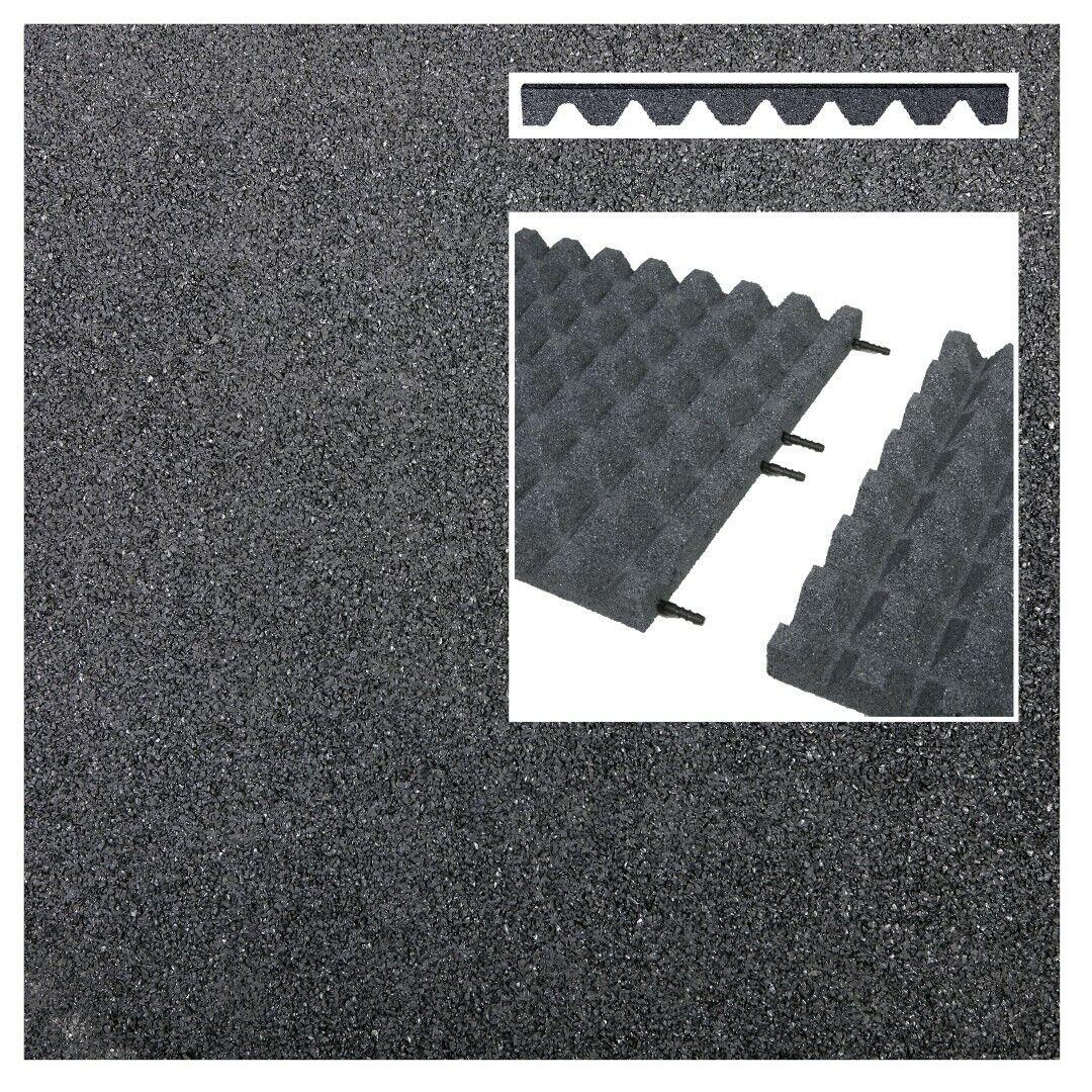 9x Fallschutzmatten 50x50 GRAU 45 mm & Verbinder Gummimatten Spielplatzmatten