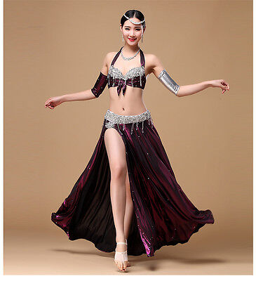 Sweet Belly Dance Hip Scarf Bra Top Performance Sequins Tassel Belly Dance Skirt Bra Set Belly Dancer Costumes for Women