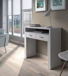 Image Is Loading Ambra White Computer Desk Extending Console Dressing Table