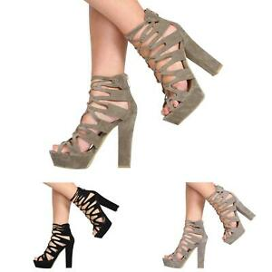 WOMENS-LADIES-HIGH-HEEL-PLATFORM-CUT-OUT-GLADIATOR-LACE-UP-PARTY-SHOES-SIZE-3-8