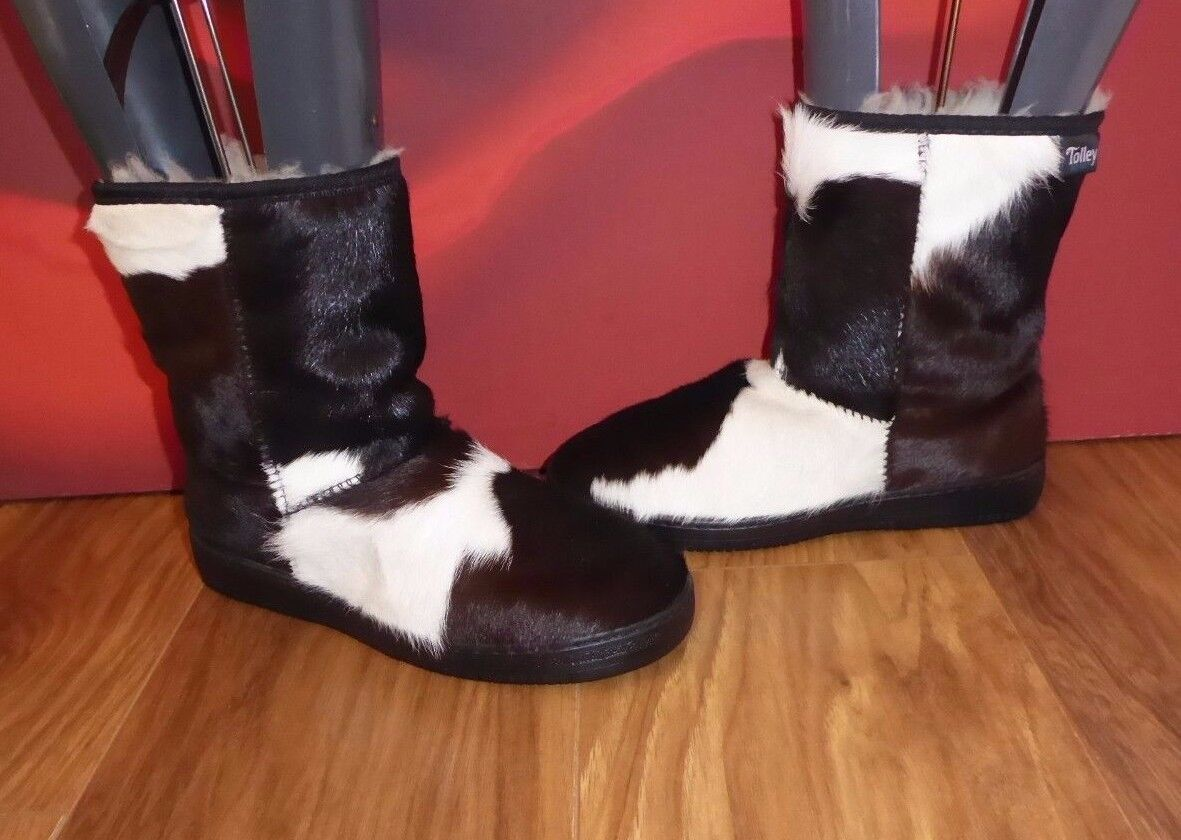 25 TOOLEY COWHIDE  FUR WOOL LINED WEDGE   BOOTS  UK 4 EU 37