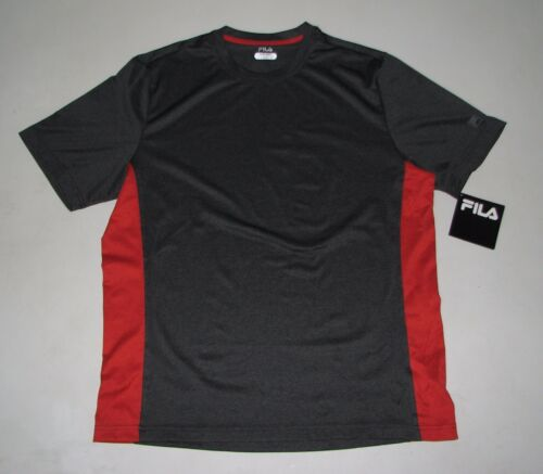 NWT Mens FILA Dark Gray//Red Exercise Fitness Running Shirt Size L Large