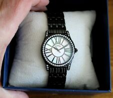 NIB DIAMONIQUE Mother of Pearl Stainless Steel Black Panther Link Bracelet Watch