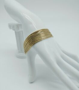 VINTAGE STERLING SILVER GOLD VERMEIL MULTI STRAND CHAIN BRACELET MADE IN ITALY