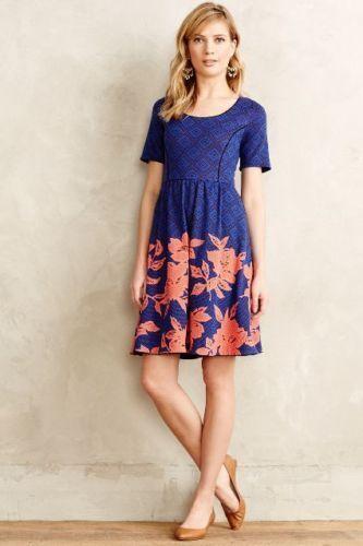 NWT  ANHROPOLOGIE HD in Paris Blaushed Blooms Dress Blau- SZ Small