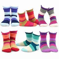 Teehee Kids Girls Crew Basic Roll Top Socks 6 Pair Pack (indian Stripe)