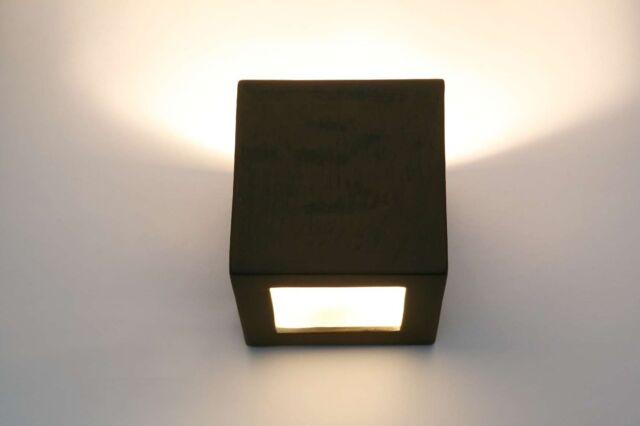 Flurlampe Quadrat braun Keramik Wandlampe Wandleuchte Lampe bemalbare TOP