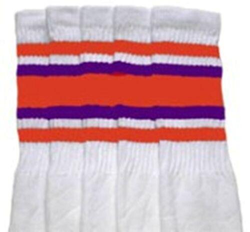 "25-44 25"" KNEE HIGH WHITE tube socks with ORANGE//PURPLE stripes style 4"