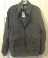 Hyden Yoo Mens Coat Jacket Leather Suede Sz L Bomber Zipper Grey