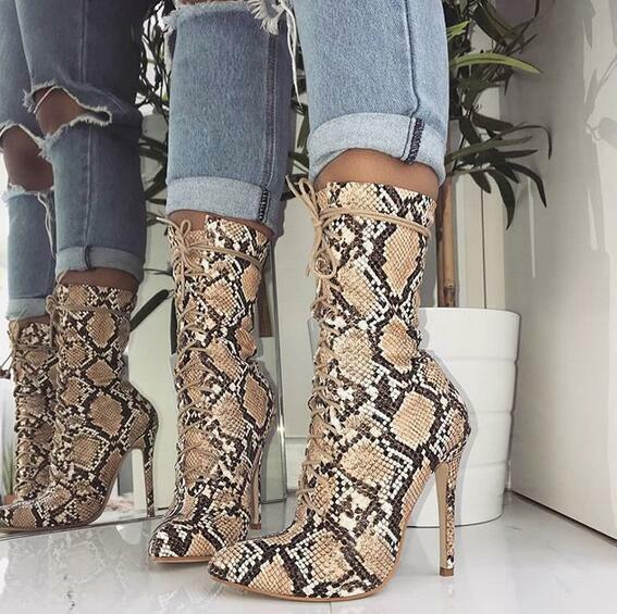 Womens Leather Pointed Toe Sexy Club Stiletto Snakeskin Mid Calf Boots Plus Size