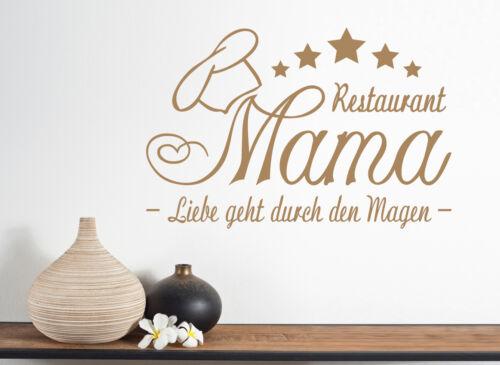 Deko Küche Esszimmer Essen Wandaufkleber WandTattoo Restaurant Mama//Liebe geht.