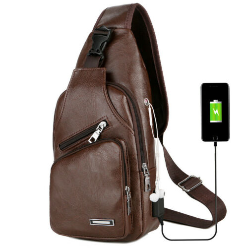 Fashion Men Shoulder Chest Bag PU Leather Zipper USB Charging For Mobile Phone