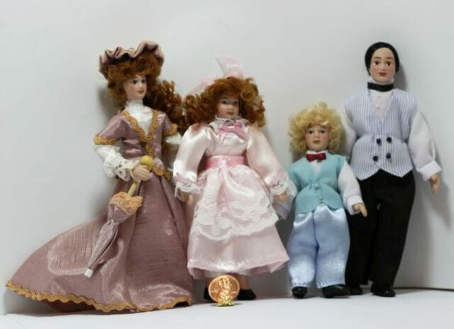 Brunette ~ G7600 Dollhouse Miniatures ~ My Doll Family Set of 4 ~ Victorian