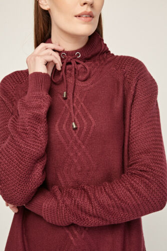 Ladies String High Neck Cable Knit Magenta Pull Over Dark Berry Winter Jumper