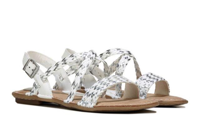 e8c5ddc359f6 B.O.C. Women s Dena White Silver Crisscrossing Braided Sandals - Size 7 8 9