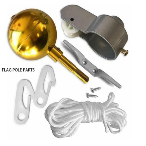 """Flag Pole Parts Repair Kit 2/"""" Dia Truck Pulley Gold Ball Cleat Clip Halyard Rope"""